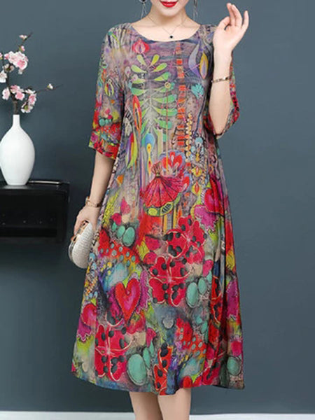 Casual 3/4 Sleeve Crew Neck Floral Printed Dress