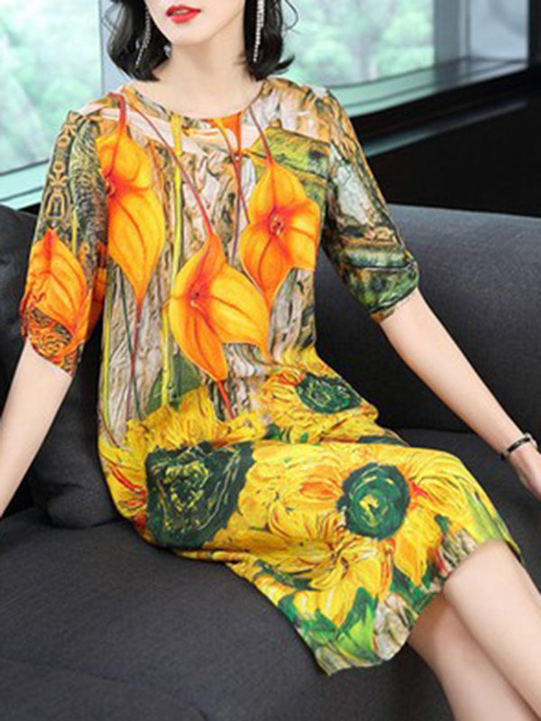 Floral Printed Crew Neck Half Sleeve Elegant Dress