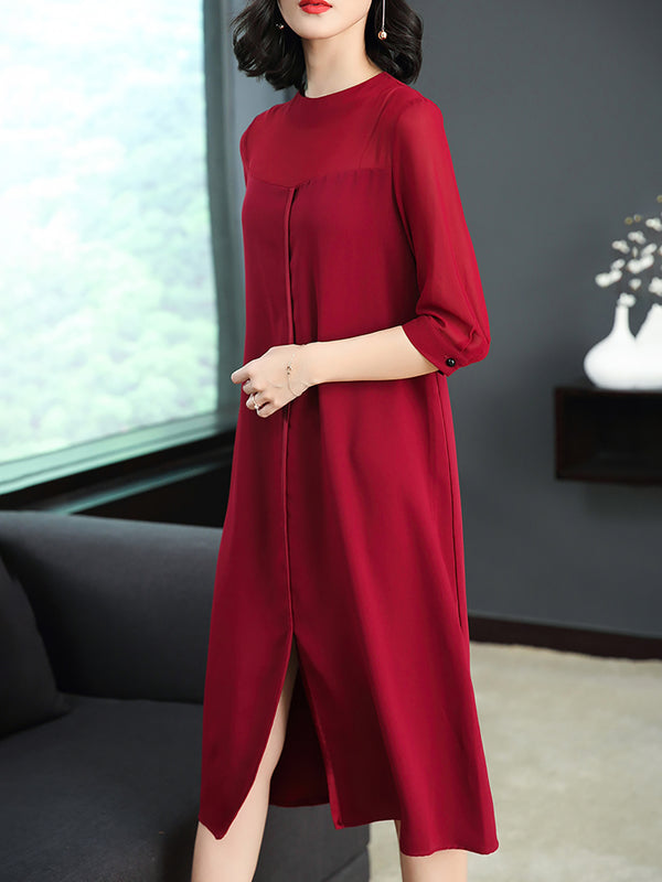 Solid Slit Shift Chiffon Half Sleeve Midi Dress