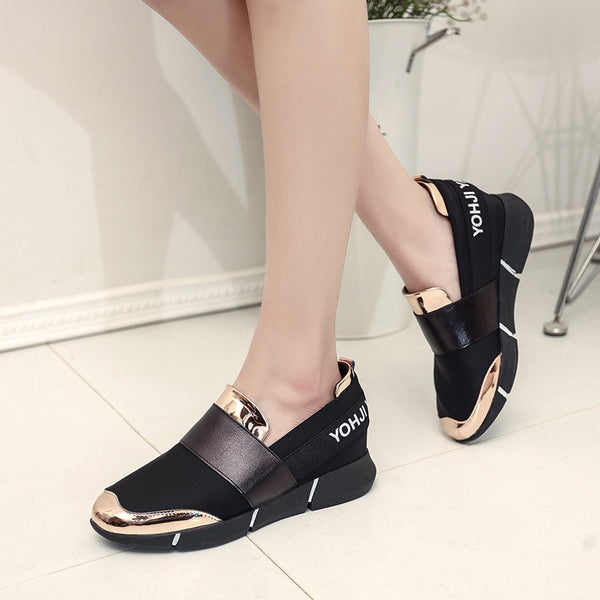 Flat Heel Suede Round Toe Women Fashion Sneakers