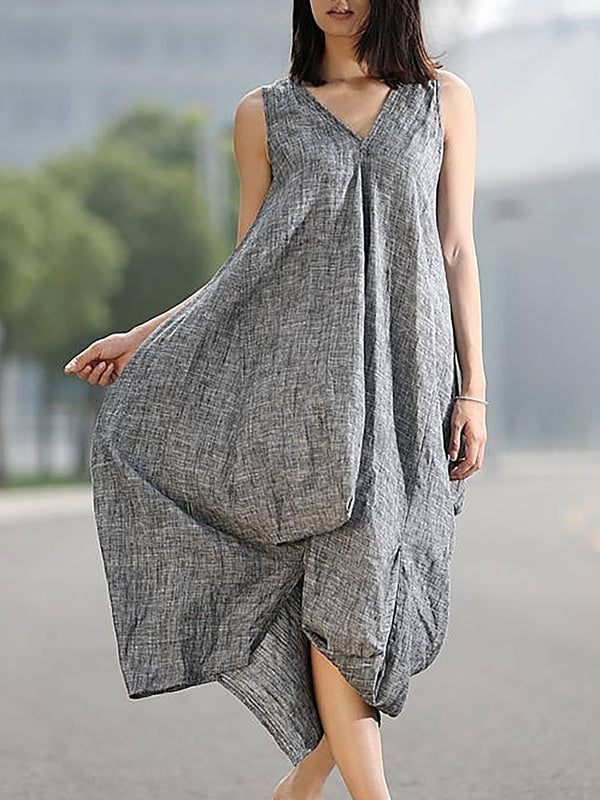 Gray Shift Casual V Neck Casual Dress