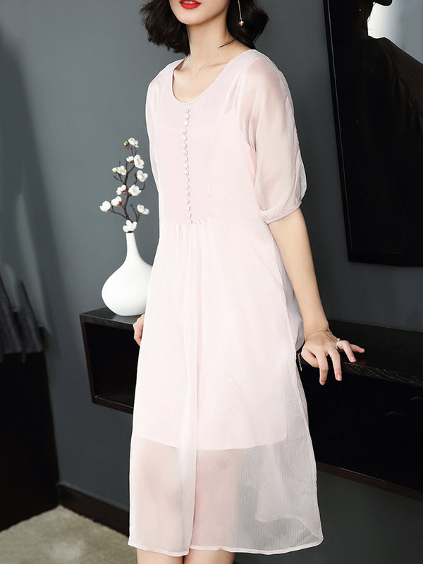 Pink Solid Elegant Satin Crew Neck Half Sleeve Dress