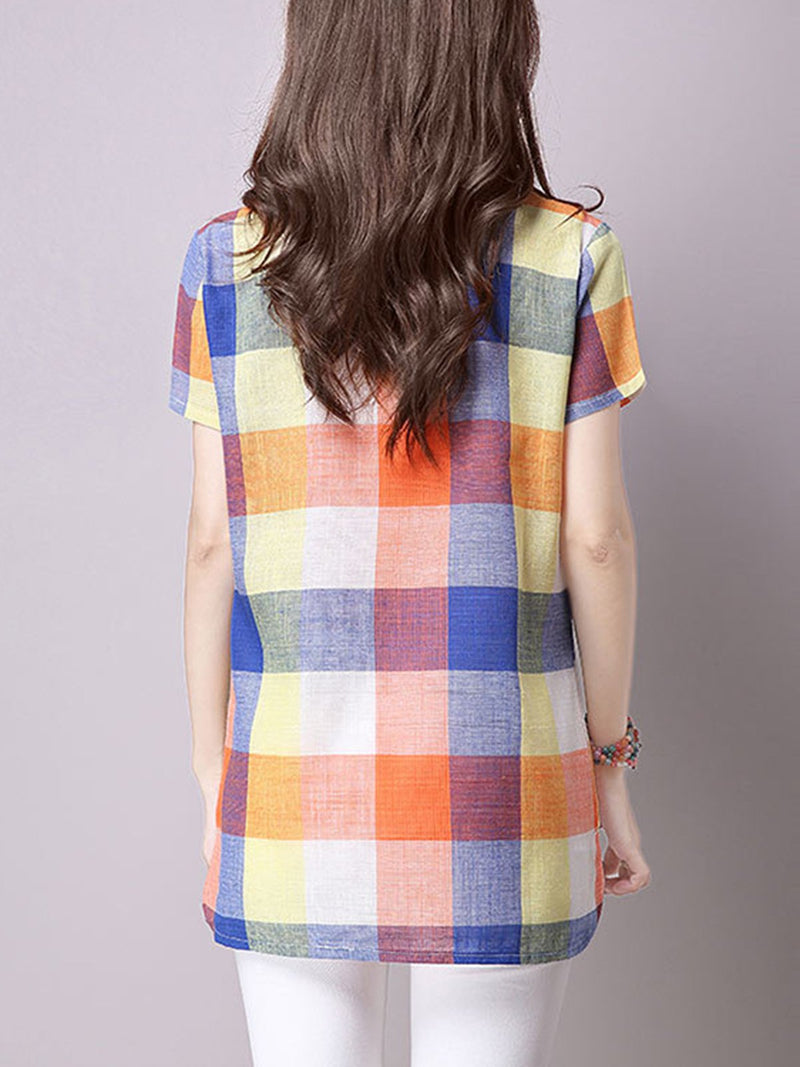 Short Sleeve Crew Neck Plaid T-Shirt