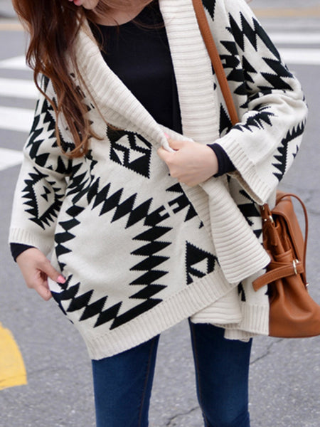 Batwing Geometric Casual Cardigan Coat