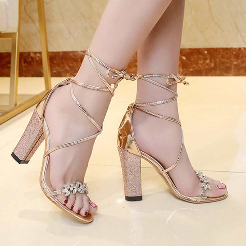 be6a41f159d ... Women PU Pumps Sandals Shiny Transparent Strappy Chunky Heeled Shoes ...