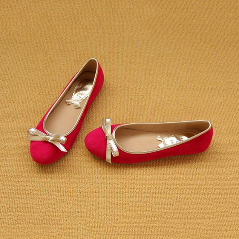 Women Plus Size Bowknot Flats Multicolored Slip-On Suede Shoes