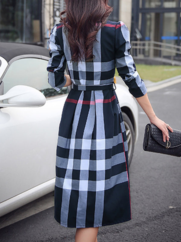 Brushed Casual Shirt Collar Long Sleeve Checkered Dress