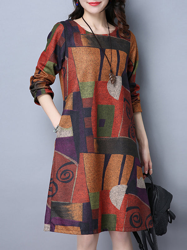 Casual Abstract Printed A-line Long Sleeve Plus Size Print Dress