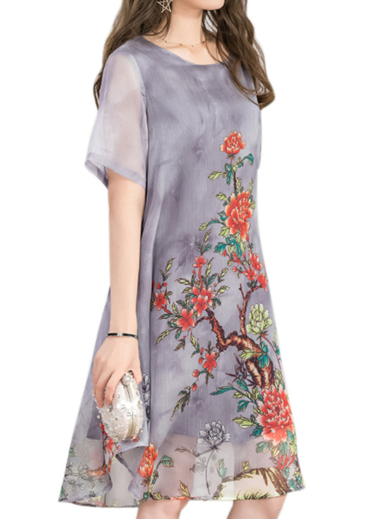 Crew Neck Floral Printed Casual Chiffon Dress