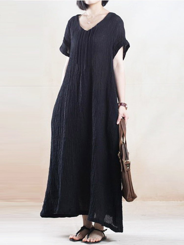 Casual Solid V-neck Short Sleeve Maxi Plus Size Linen Dress