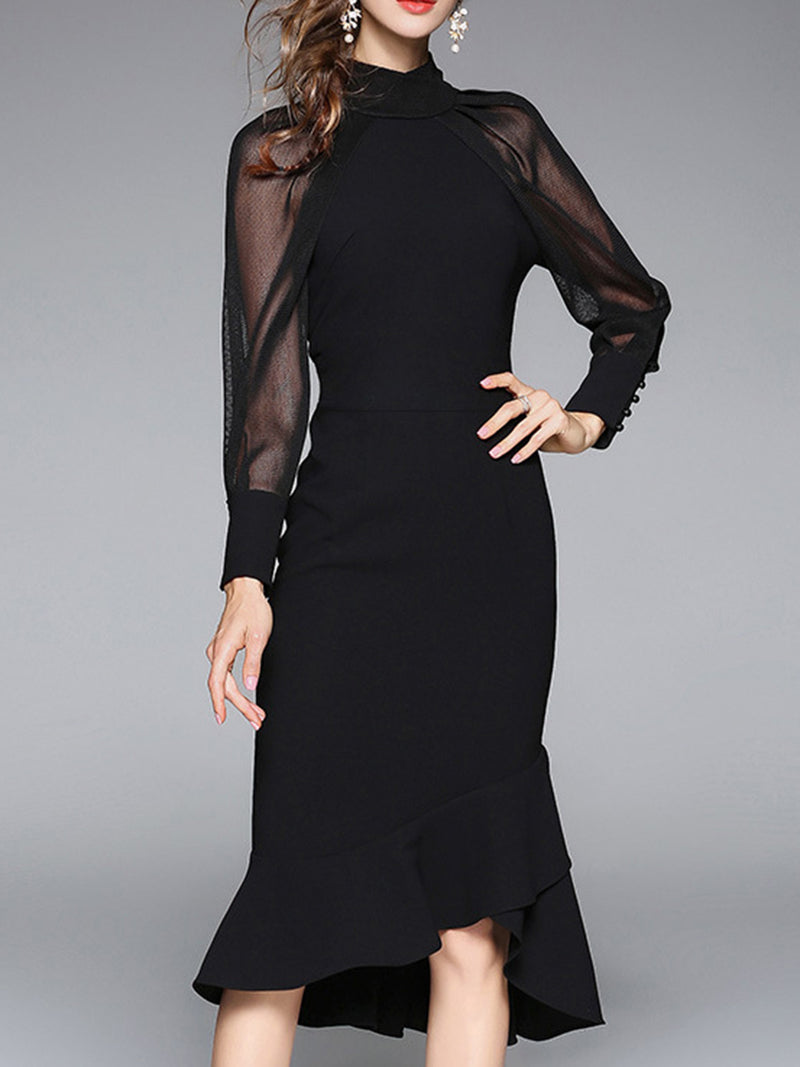 Black Solid Long Sleeve Asymmetric Midi Dress