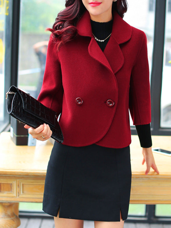 Casual 3/4 Sleeve Buttoned Solid Shawl Collar Jacket Coat