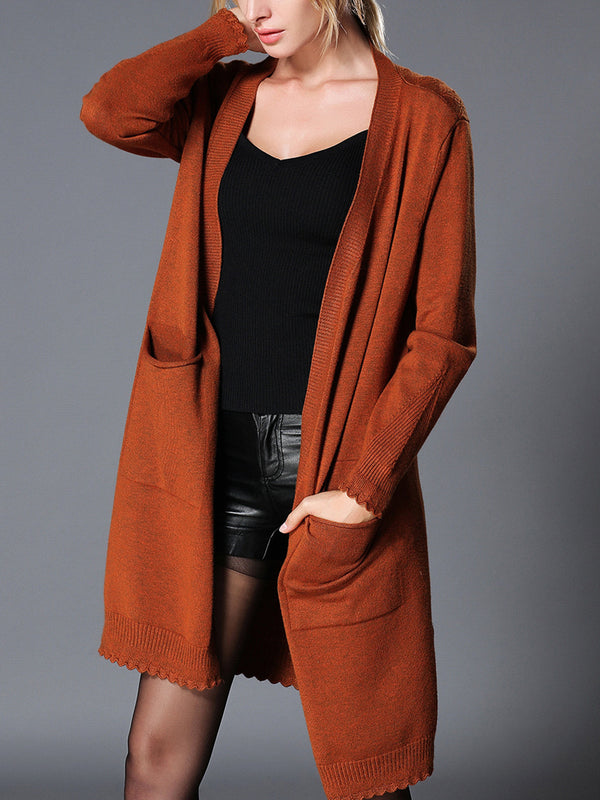 Pockets Knitted Shift Casual Sweater Cardigan