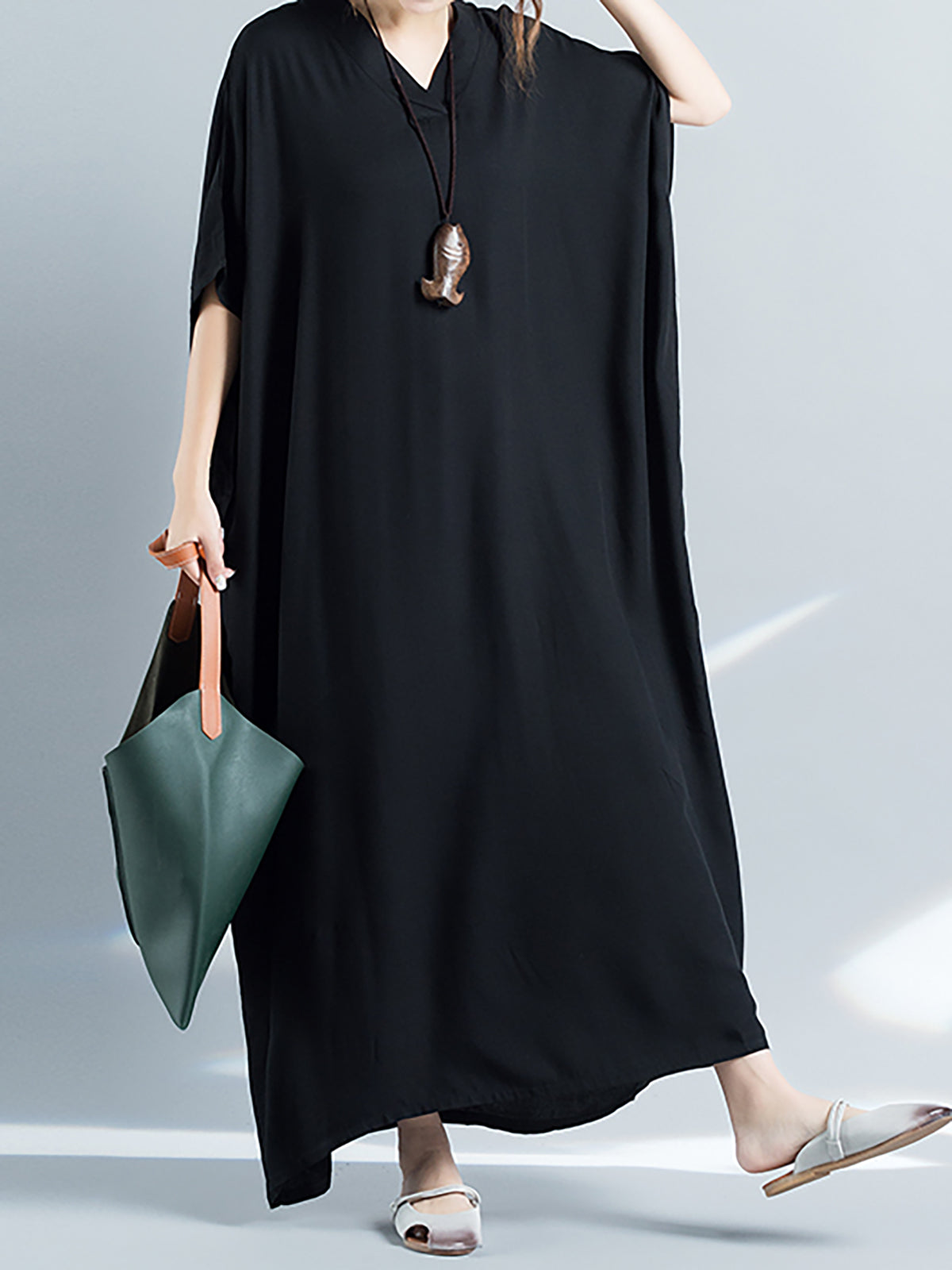 Black Acrylic V Neck Casual Casual Dress