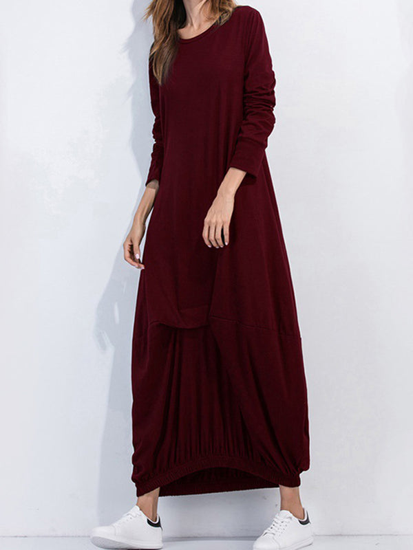 Casual Solid Long Sleeve Cocoon Maxi Dress