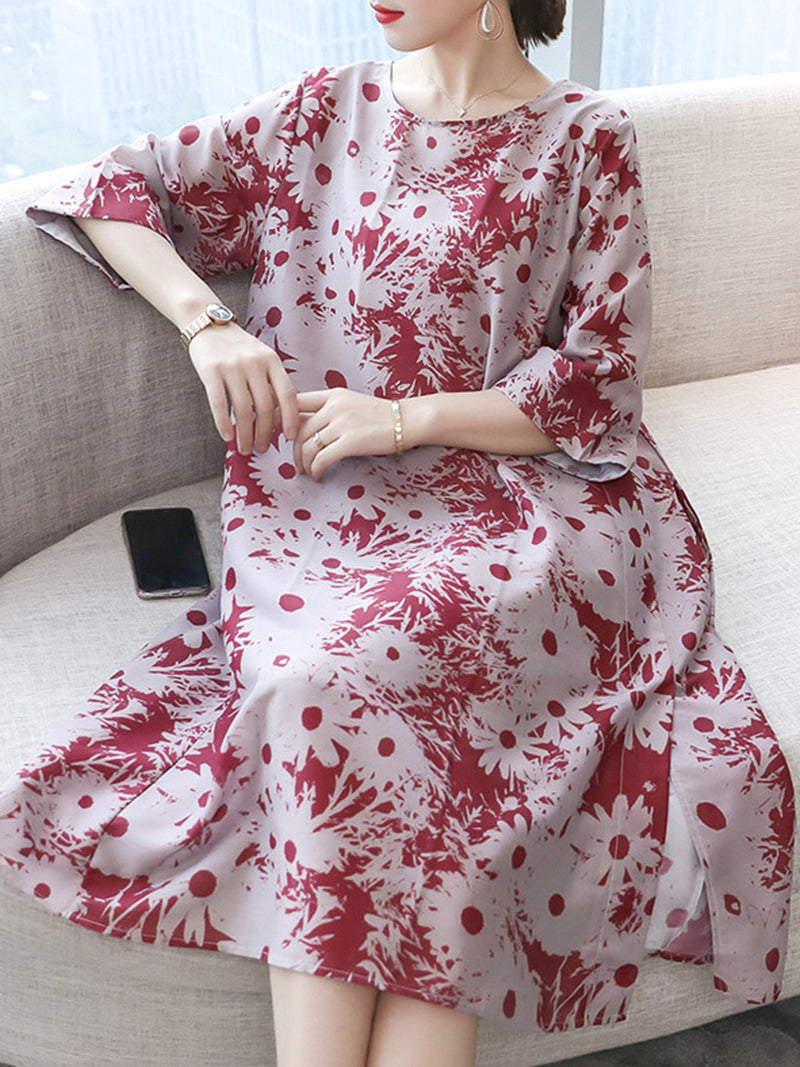 Elegant Crew Neck Floral Two Piece Dress