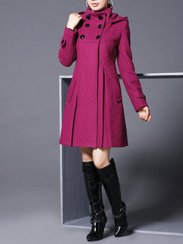 Plus Size Women Long Sleeve Stand Collar Long Coat
