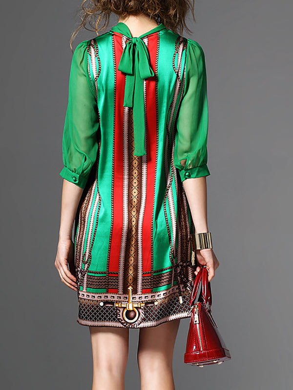 Green 3/4 Sleeve Printed Casual Mini Dress