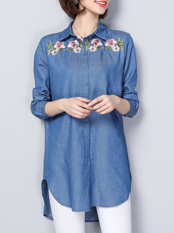 Blue Embroidery High-Low Casual Shirt