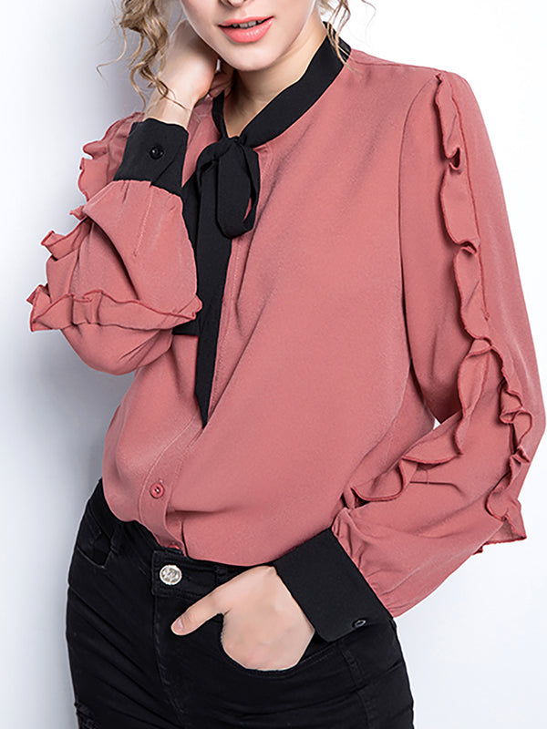 Tie-neck Casual Long Sleeve Blouse