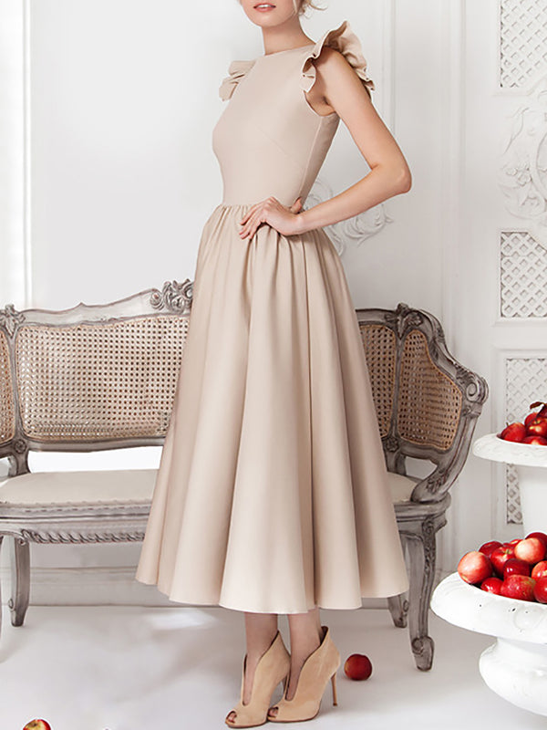 Solid Elegant Sleeveless Ruffled Maxi Dress