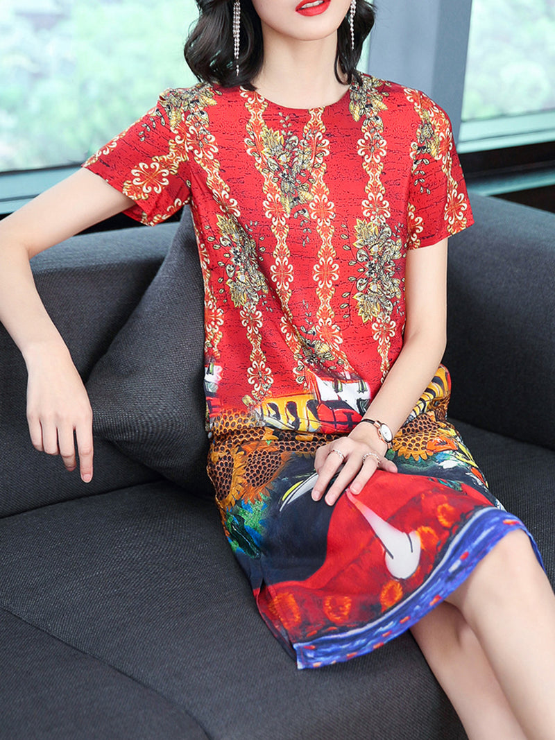 Casual Chiffon A-line Short Sleeve Printed Dress