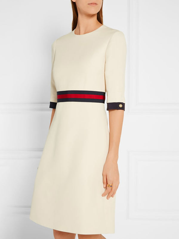 Solid Paneled Elegant Crew Neck Half Sleeve Dress