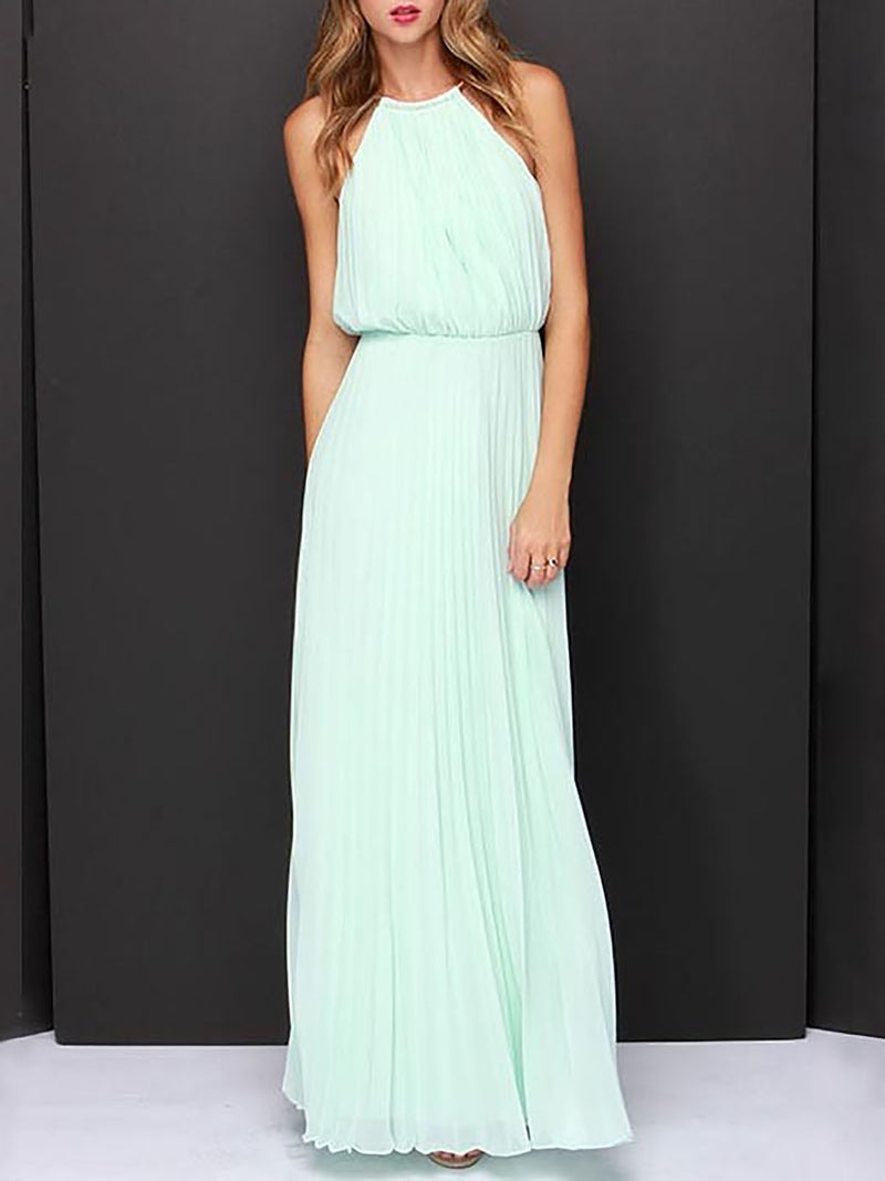 A-line Date Holiday Solid Holiday Chiffon Sleeveless Maxi Dress