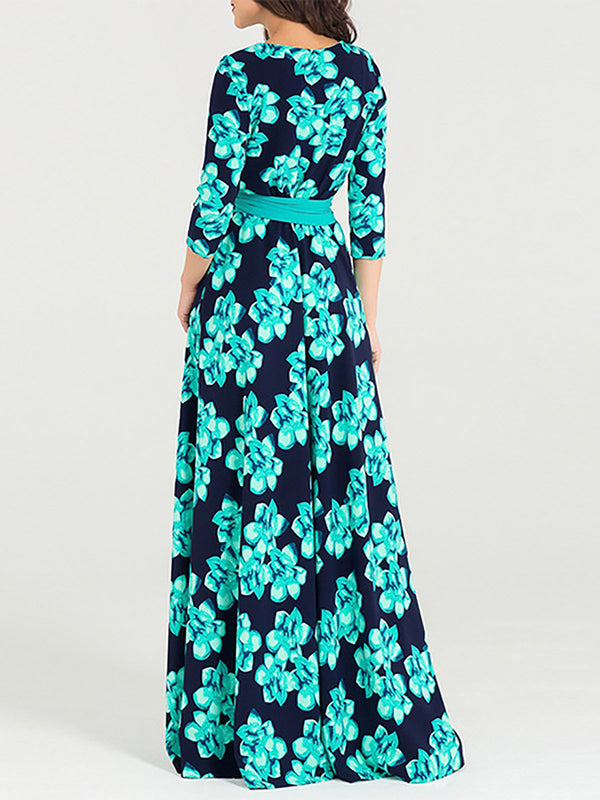 Floral 3/4 Sleeve Bow Elegant A-line Maxi Dress