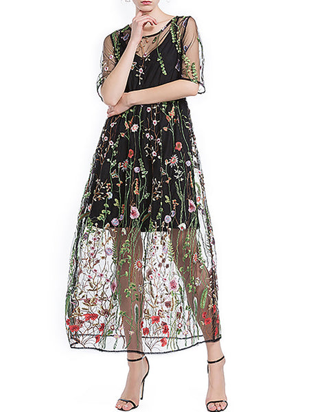 Black Embroidered Floral Elegant See-through Look Midi Dress