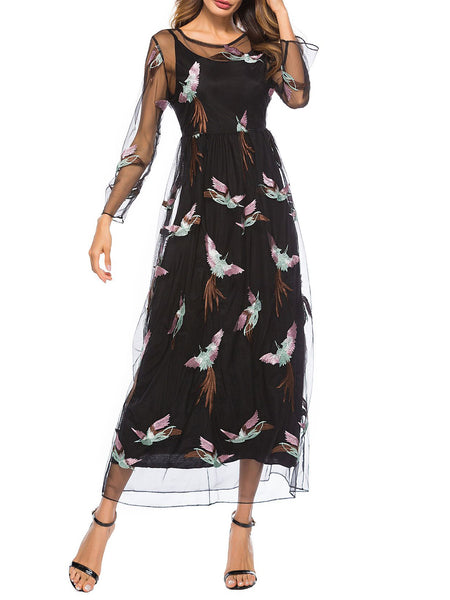 Black Lace Long Sleeve Animal A-line Maxi Dress