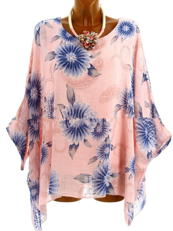 Casual Floral Printed 3/4 Sleeve Plus Size Blouses