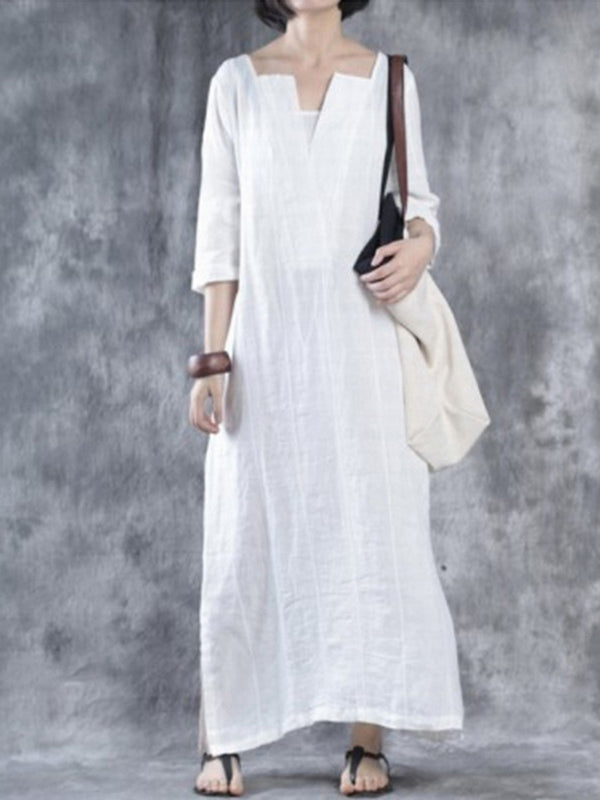 Solid Shift 3/4 Sleeve Casual Plus Size Maxi Dress