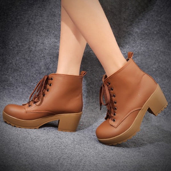 Women Artificial Leather Booties Lace Up Chunky Heel Plus Size Shoes