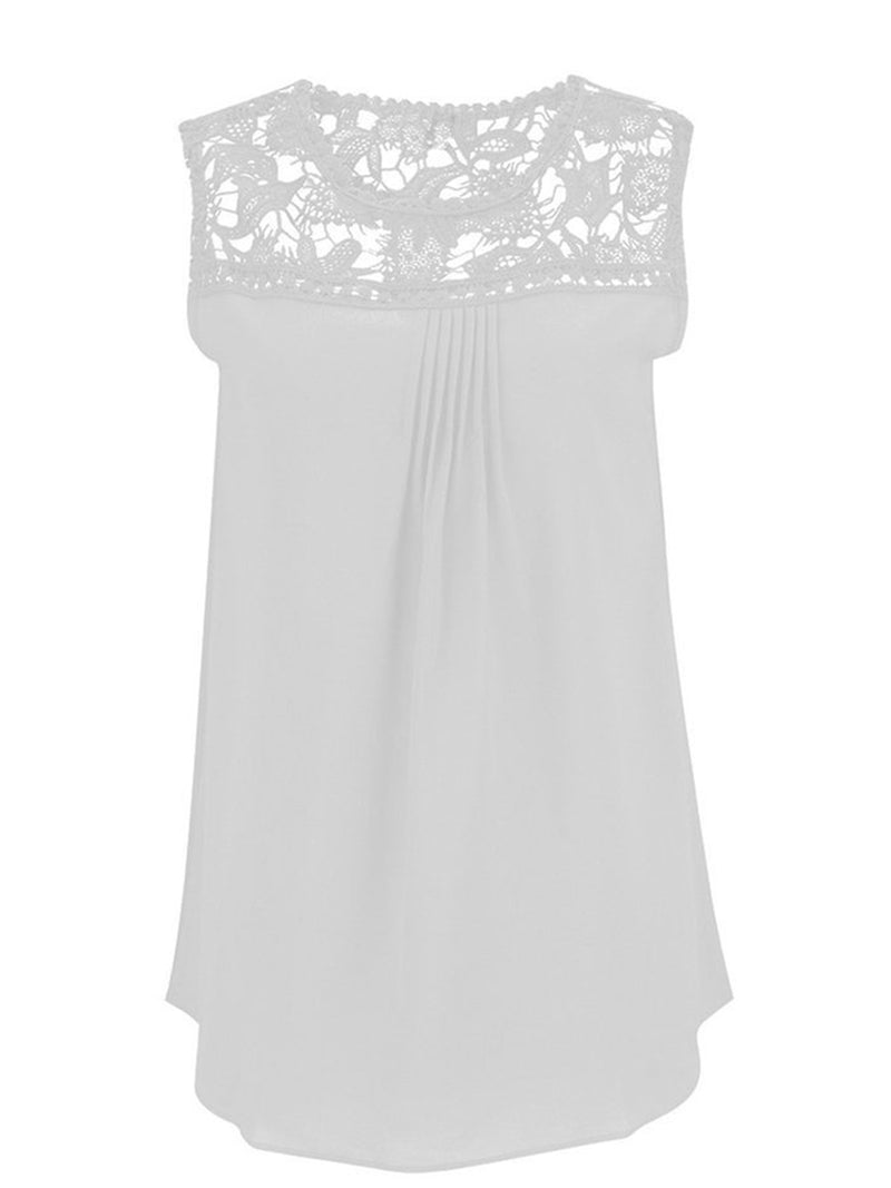Lace Paneled Cut out Shift Casual Tank
