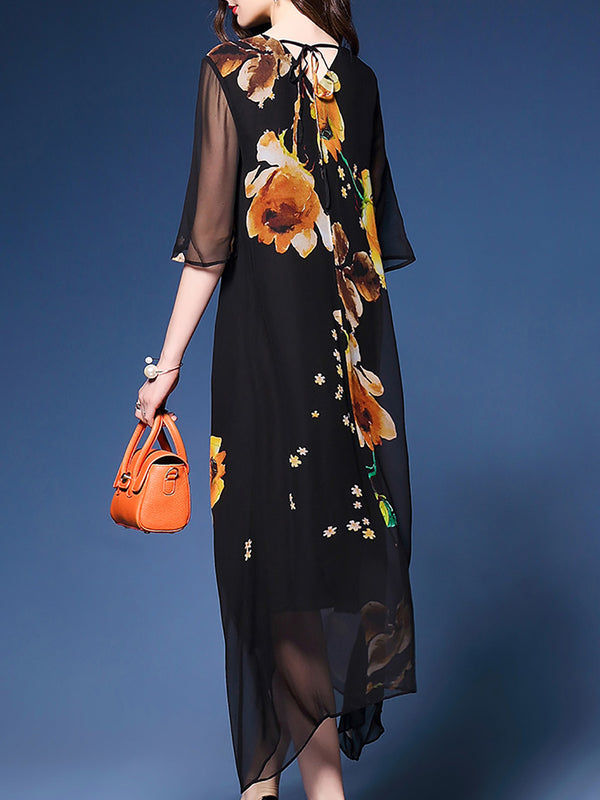 Half Sleeve V Neck Floral Elegant Polyester Midi Dress
