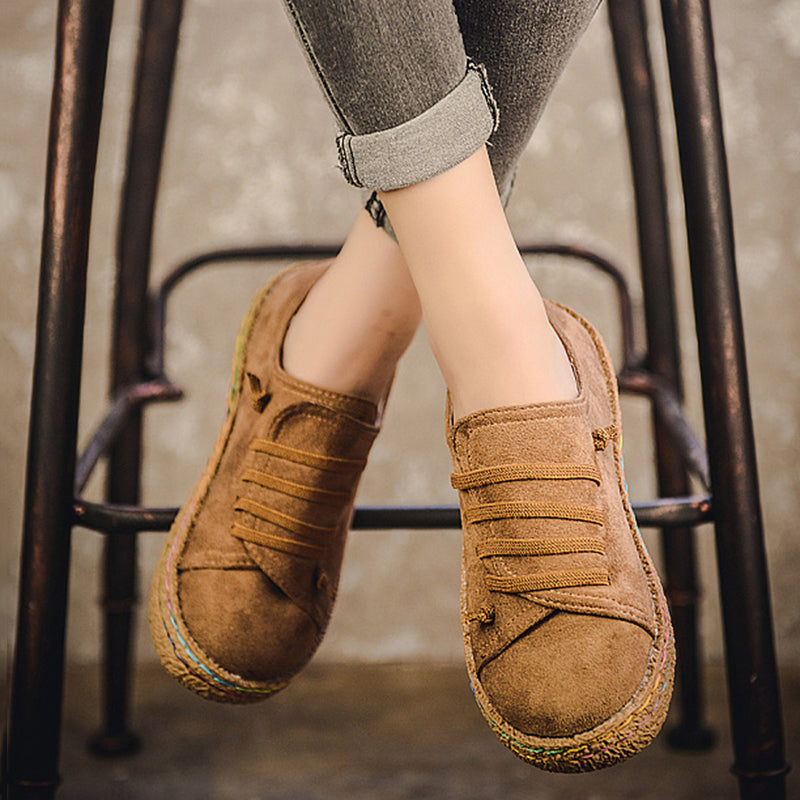 Soft Suede Lace-Up Round Toe Women Loafers