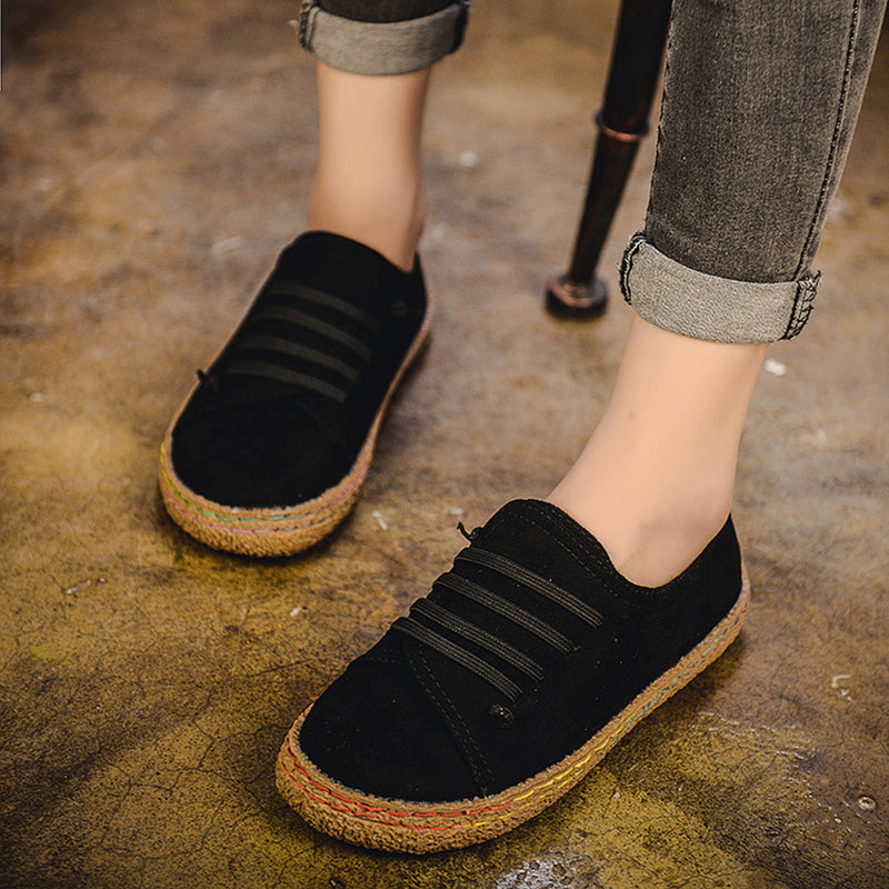 Women Lace-Up Round Toe Suede Loafers