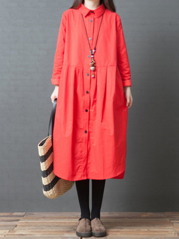 Casual Solid Long Sleeve Shirt Collar Dress