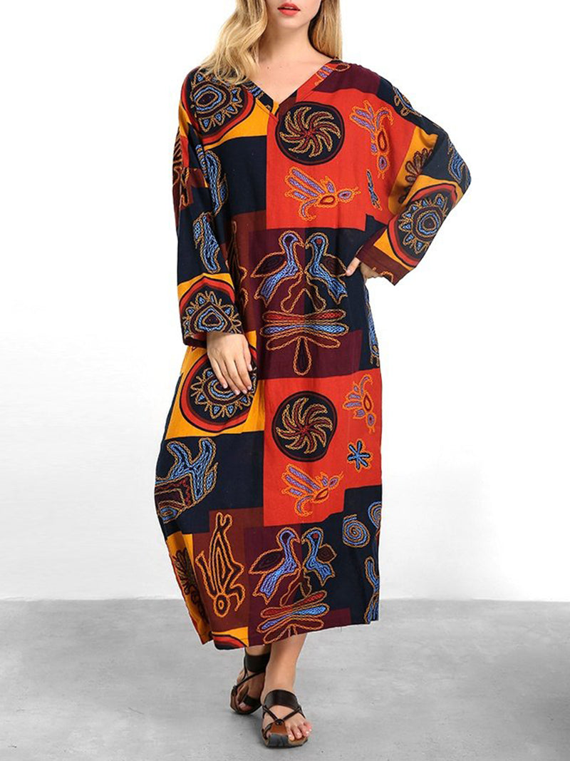 3/4 Sleeve Shift Printed Casual Cotton Plus Size Dress