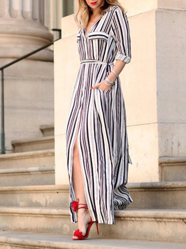 Black Stripes A-line Shirt Collar Casual Maxi Dress with Belts