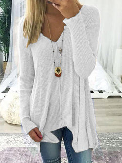 Long Sleeve Solid  V-Neck Sweater