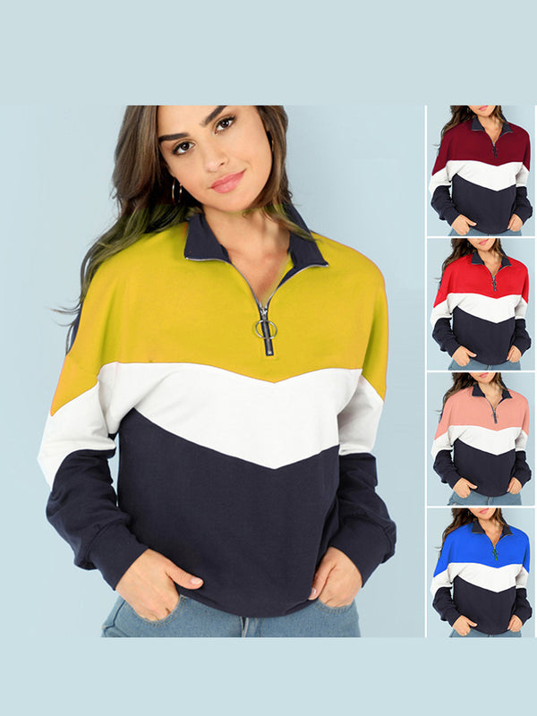 Casual Color-Block Long Sleeve Zipper Sweateshirt