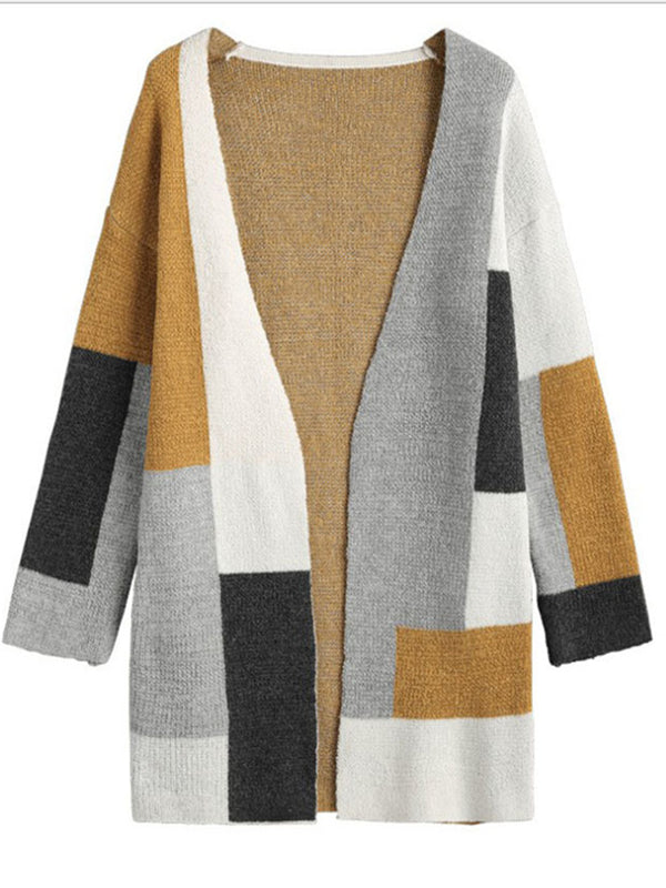 Color-block Elegant Knitted Cardigan Coat