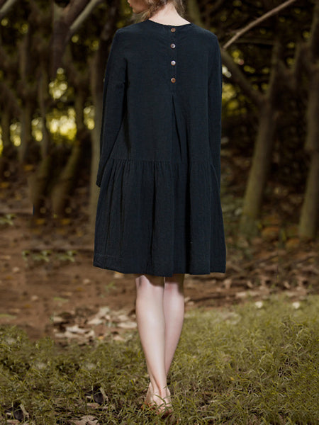 A-line Long Sleeve Solid Casual Linen Dress