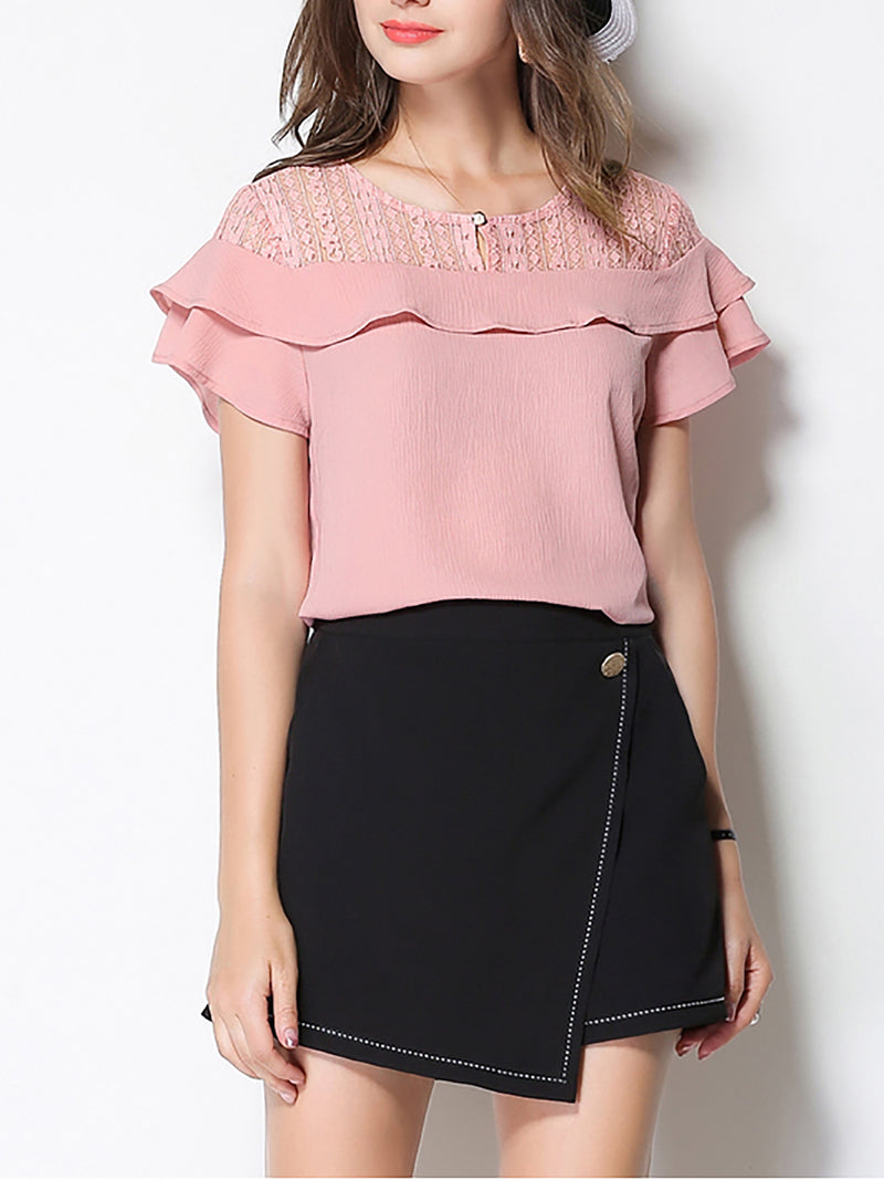Pink Casual Ruffled Plus Size Chiffon Blouse