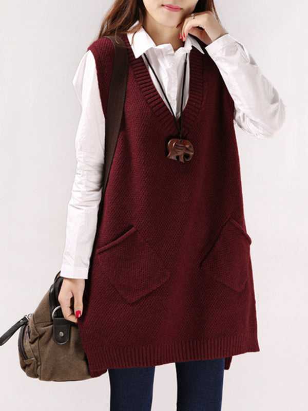 Sleeveless V Neck Knitted Pockets Sweater