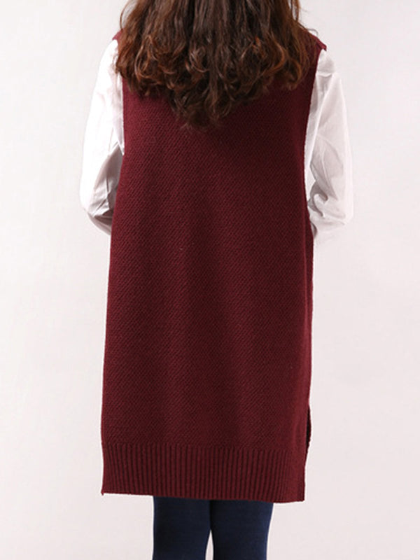 Sleeveless V Neck High Low Knitted Casual Sweater