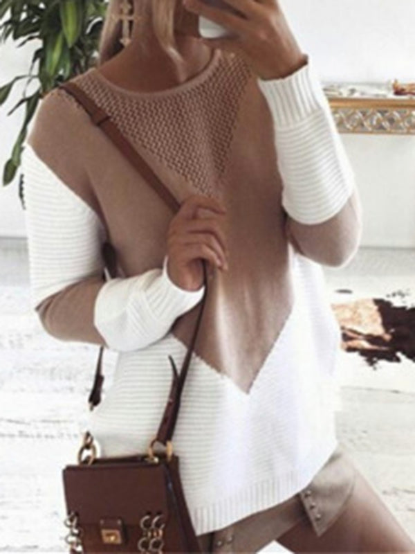 Casual Color-block Crew Neck Knitted Sweater