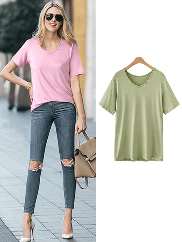 Short Sleeve Shift Solid Casual V-Neck Plus Size T-Shirt